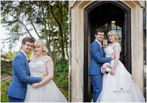 Leicester wedding photographer, bride and groom portraits outside wedding venue.