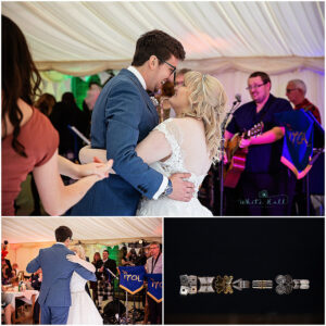Leicester wedding photographer, bride and groom first dance at wedding venue in Coalville