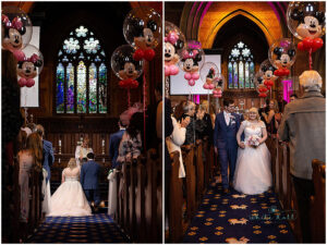 Leicester wedding photographer, bride and groom in church getting married.