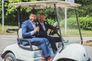Tamworth, Staffordshire wedding photographer, gay wedding at Nailcote Hall Hotel in Coventry, a ride of the golf buggy to the gardens