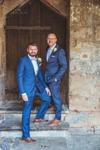 Tamworth, Staffordshire wedding photographer, couple portraits, grooms standing together for a photo